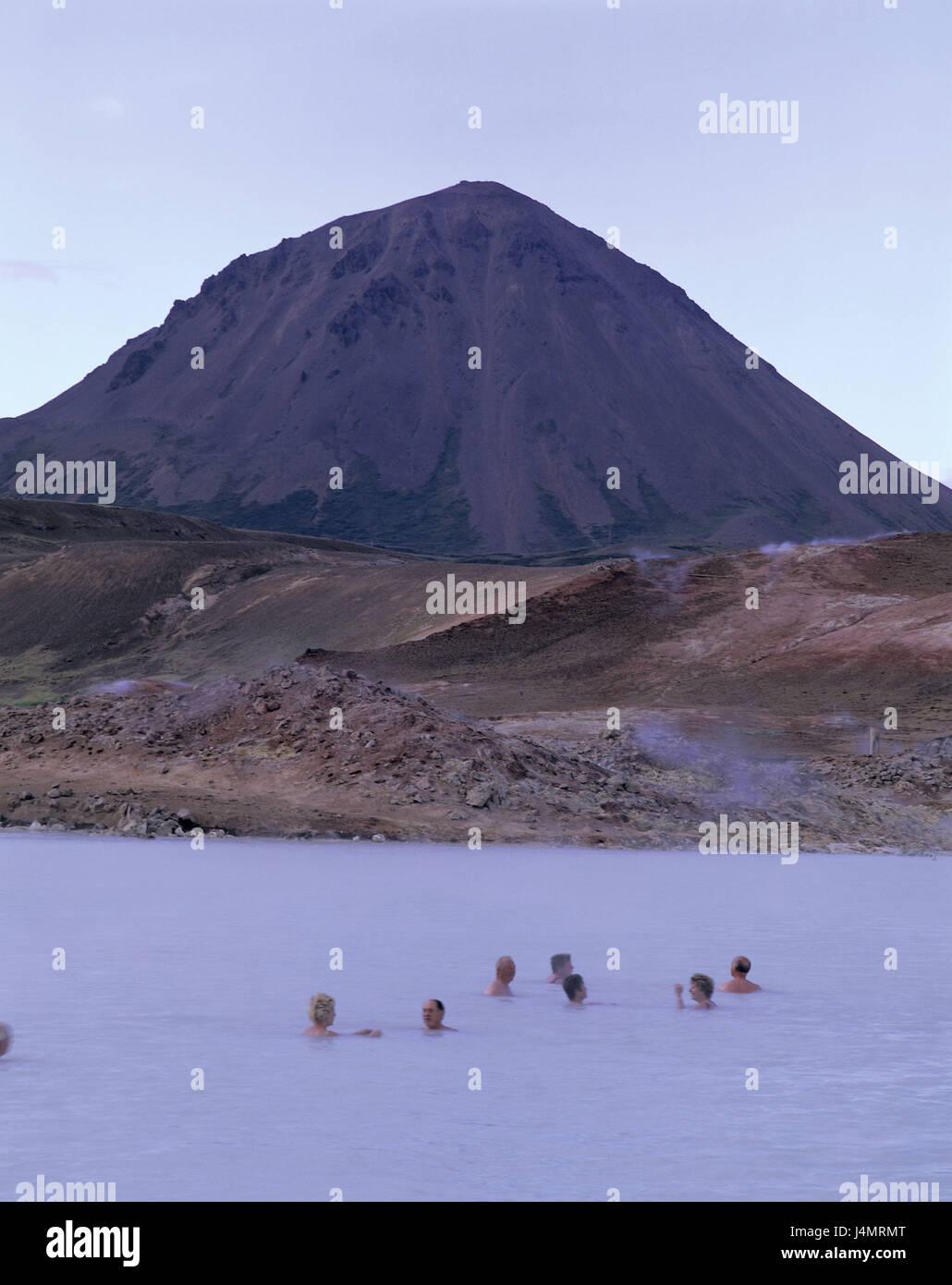 L'Islande, de Reykjahlid, région de Myvatn, lac thermal, les baigneurs de l'Europe, l'activité, Photo Stock
