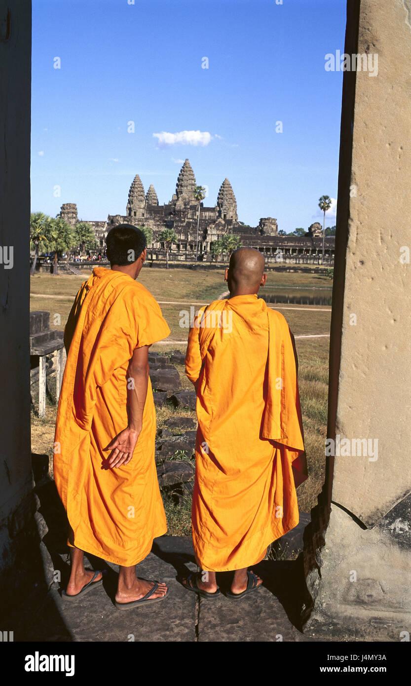 Cambodge, Angkor Wat, temple, moines, vue arrière le modèle ne libération Asie, Asie du Sud-Est, Photo Stock