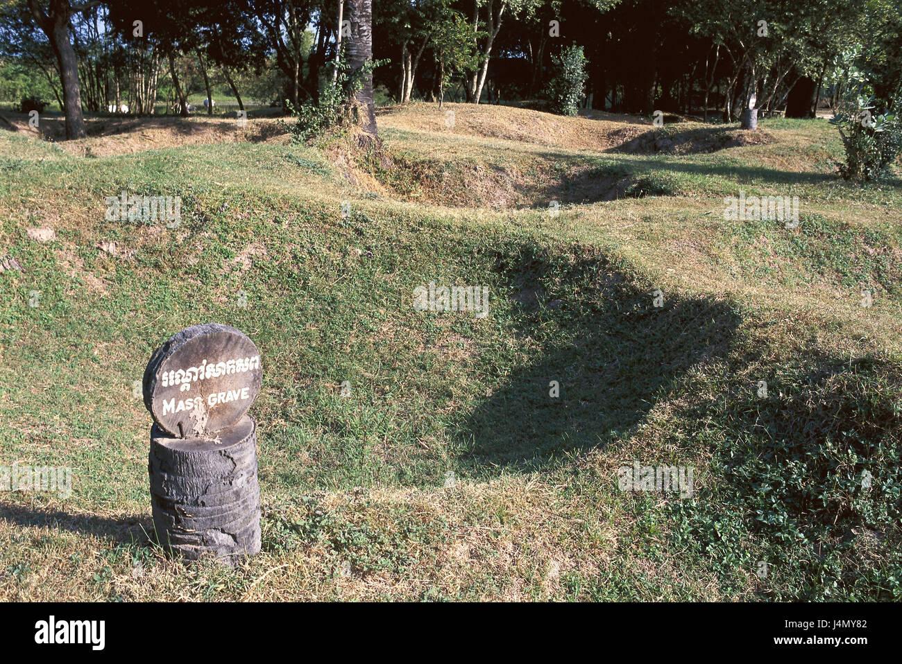 Cambodge, Coeng Ek, destruction, entrepôt tombe commune, signe de l'Asie du Sud-Est, Asie, près de Phnom Penh, Memorial, Banque D'Images