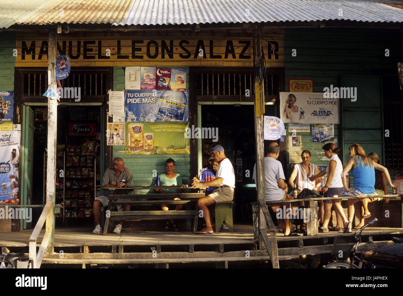 Costa Rica, Puerto Viejo de Talamanca, café, les clients, Photo Stock