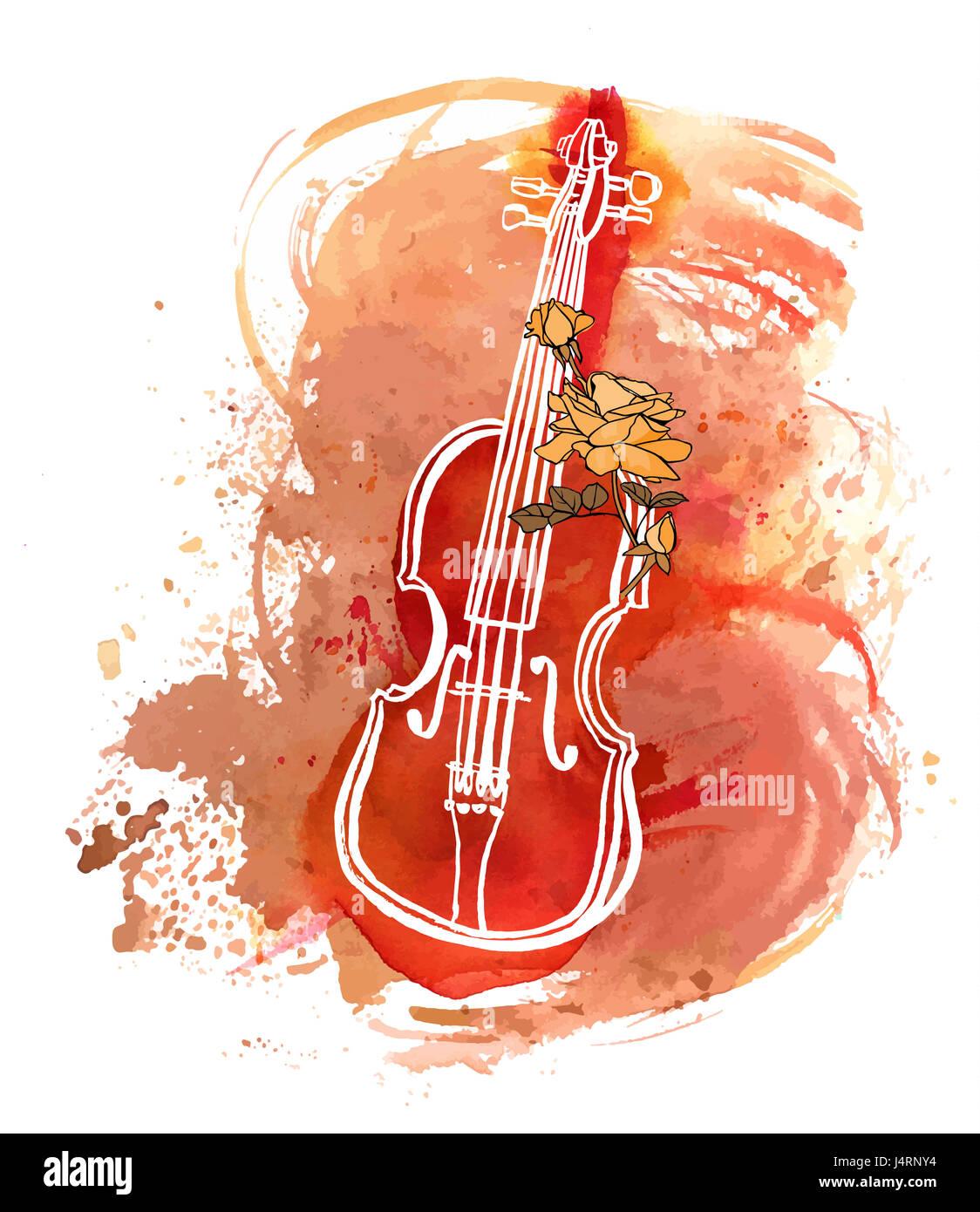Un Dessin Plume Et Encre D Un Violon Avec Une Rose Et Une