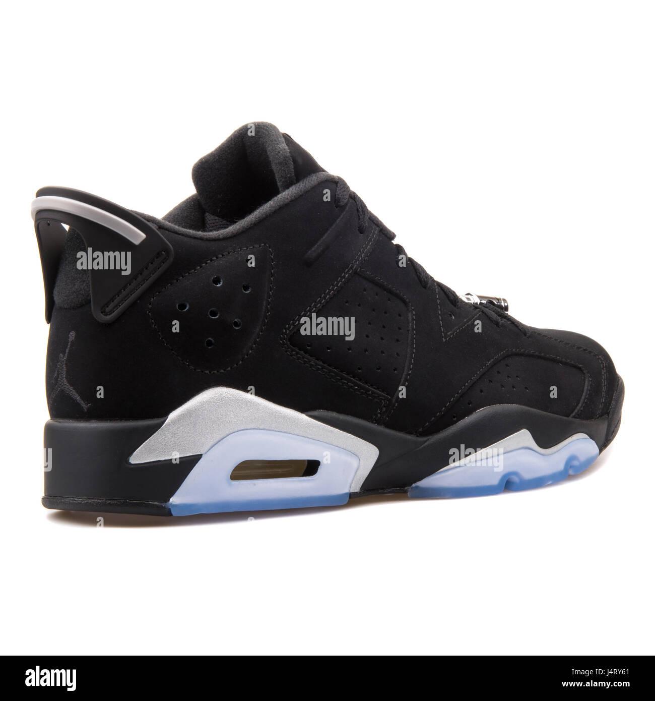 Nike Air Jordan VI Retro 6 Chrome bas noir métallisé argent blanc Sneakers  - 304401-