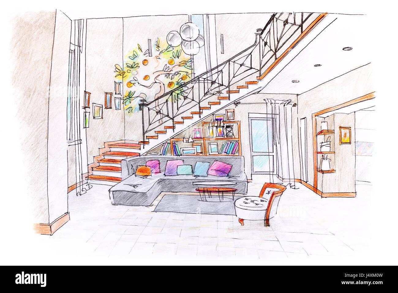 Dessin à La Main De Couleur De Cette Chambre Moderne Design. Plan De Salle  De Séjour Avec Des Meubles.