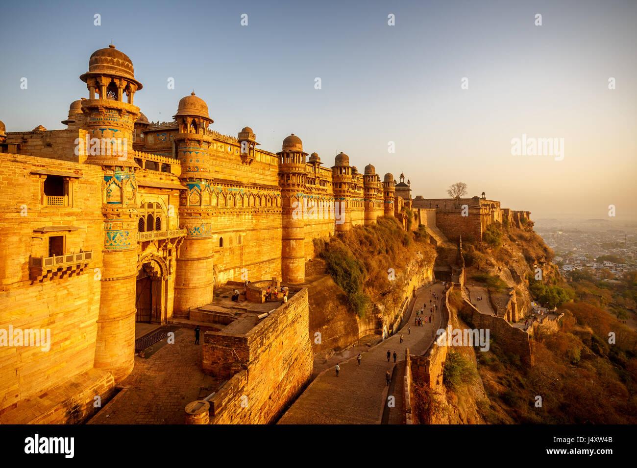 Fort De Gwalior Gwalior Man Mandir Inde Banque Dimages Photo