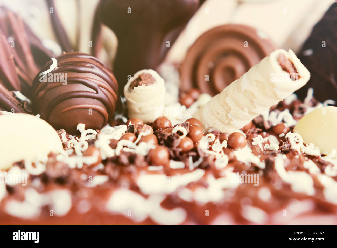 Décoration gâteau au chocolat détails. Photo Stock
