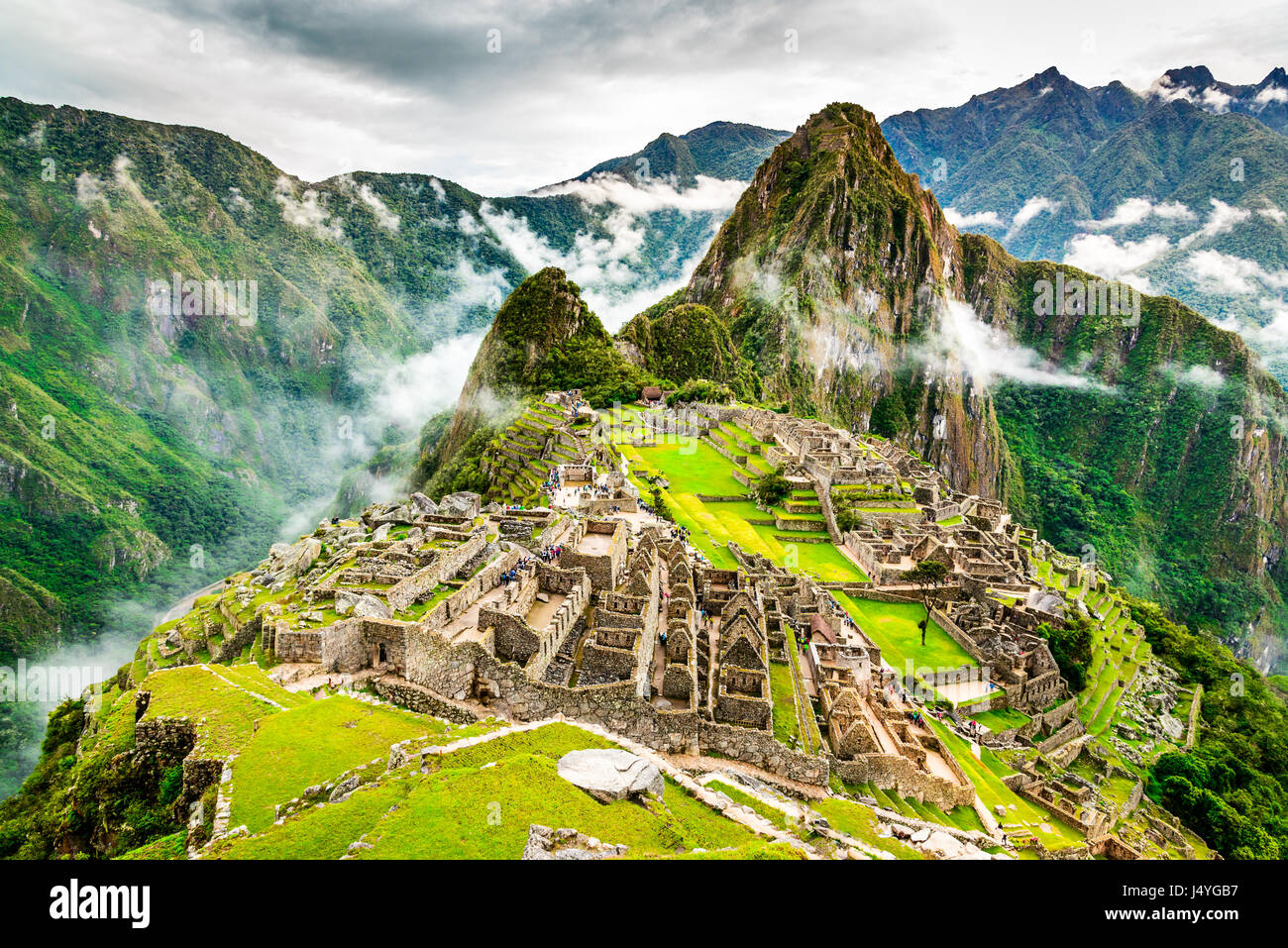 Machu Picchu, Pérou - Ruines de l'Empire Inca, à Cusco ville région, endroit étonnant de Photo Stock