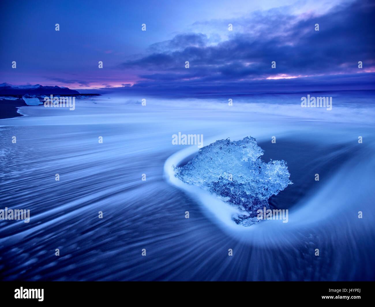 Plage du diamant près du glacier Lagoon au sud est de l'Islande Photo Stock