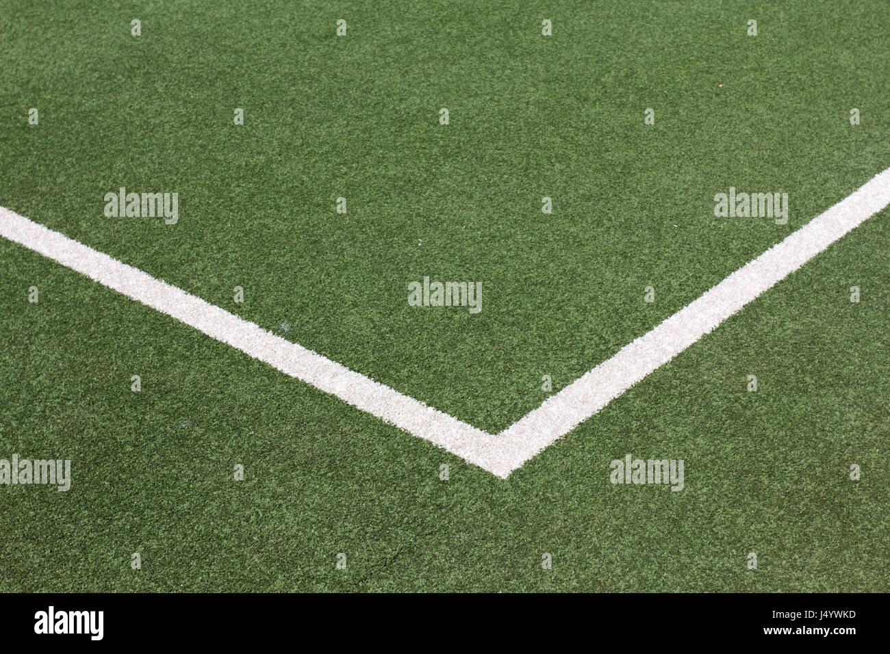 Pitch marquage sur astro turf terrain de hockey, kandivali, Mumbai, Maharashtra, Inde, Asie Banque D'Images
