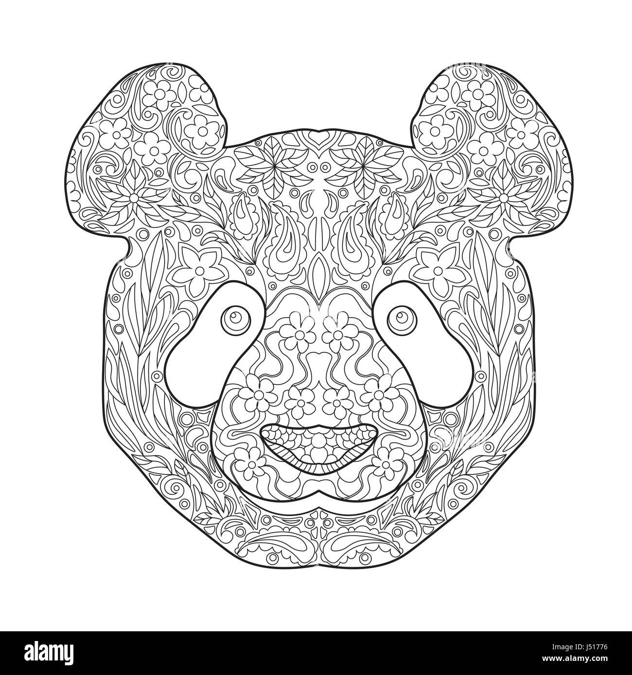 Zentagle Ethniques Dessines A La Main Orne De La Tete De Panda