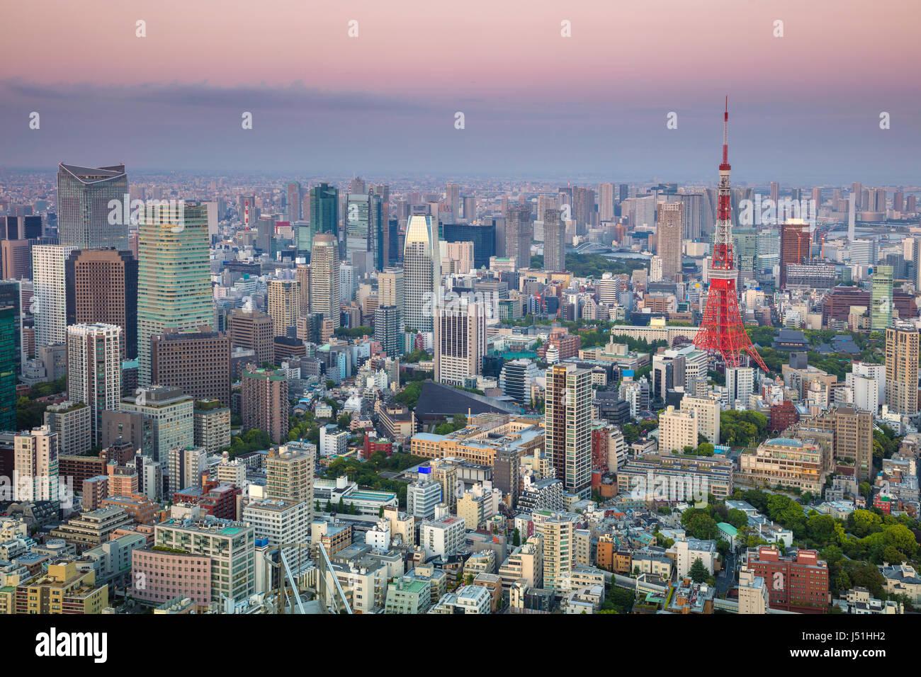 Cityscape de droit de Tokyo, au Japon pendant le coucher du soleil Photo Stock