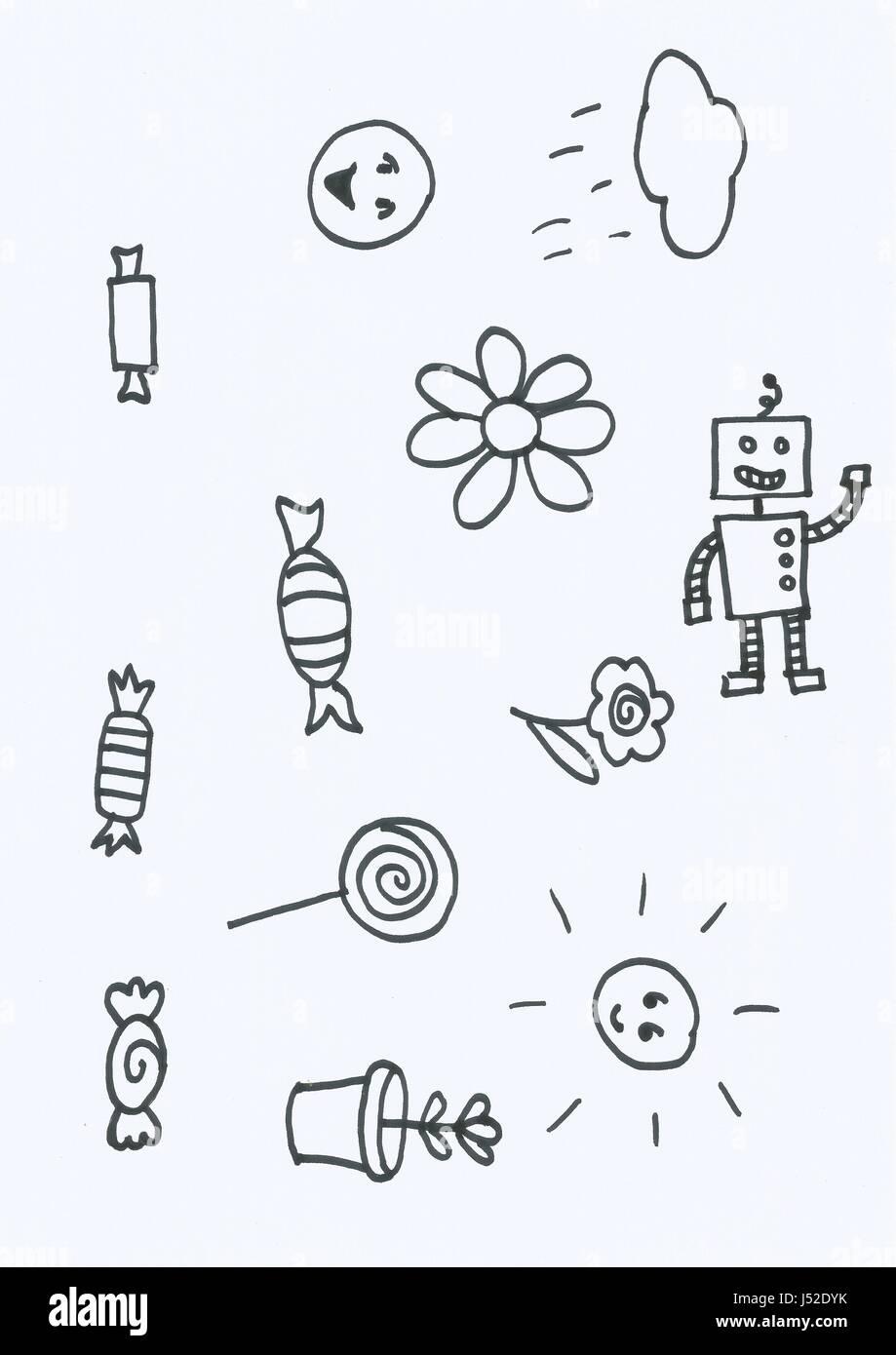 Série de dessins numérisés à l'encre noire sur papier Photo Stock