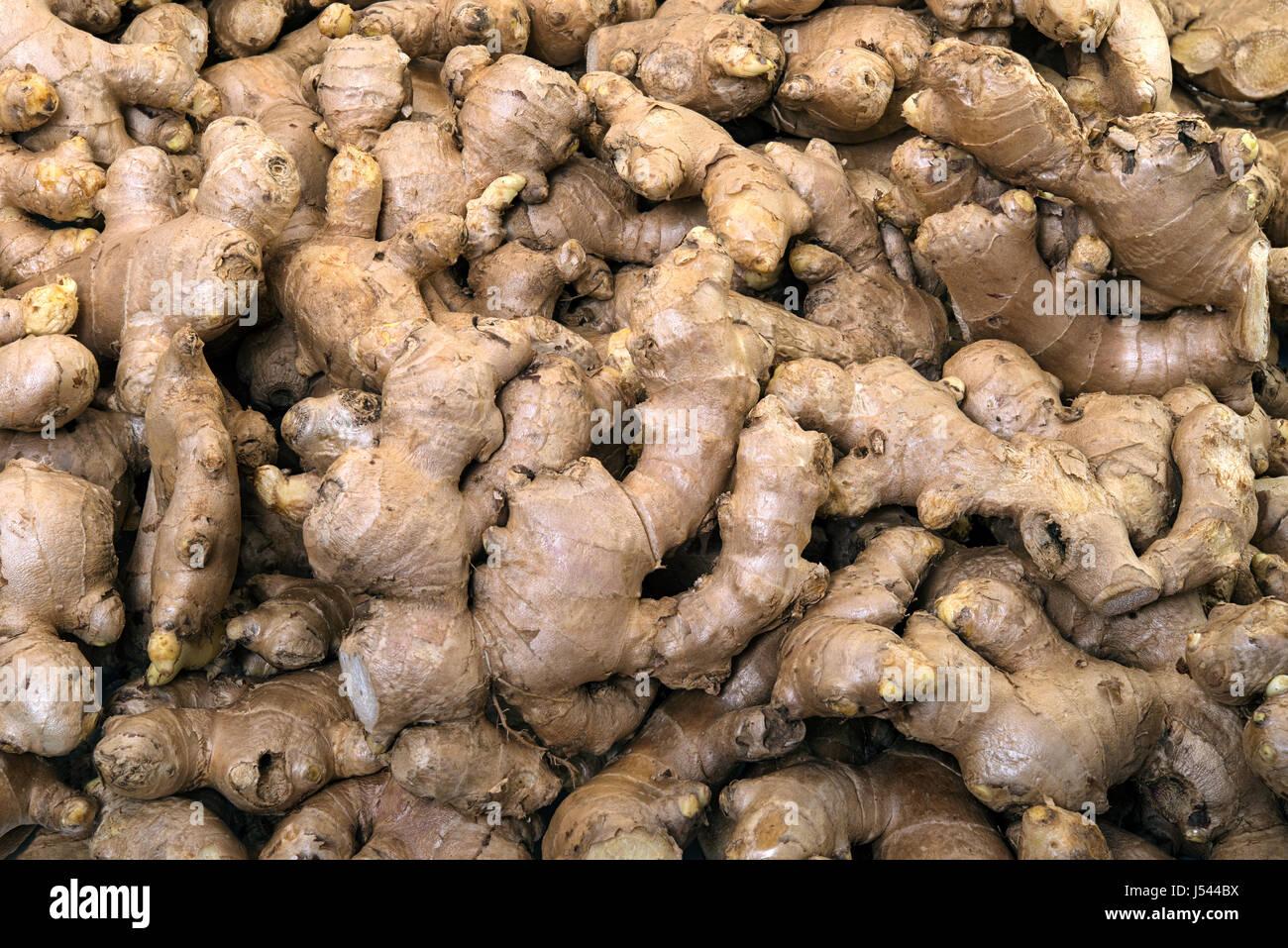 Ginger bio sur l'affichage pour la vente dans le marché de légumes frais Banque D'Images