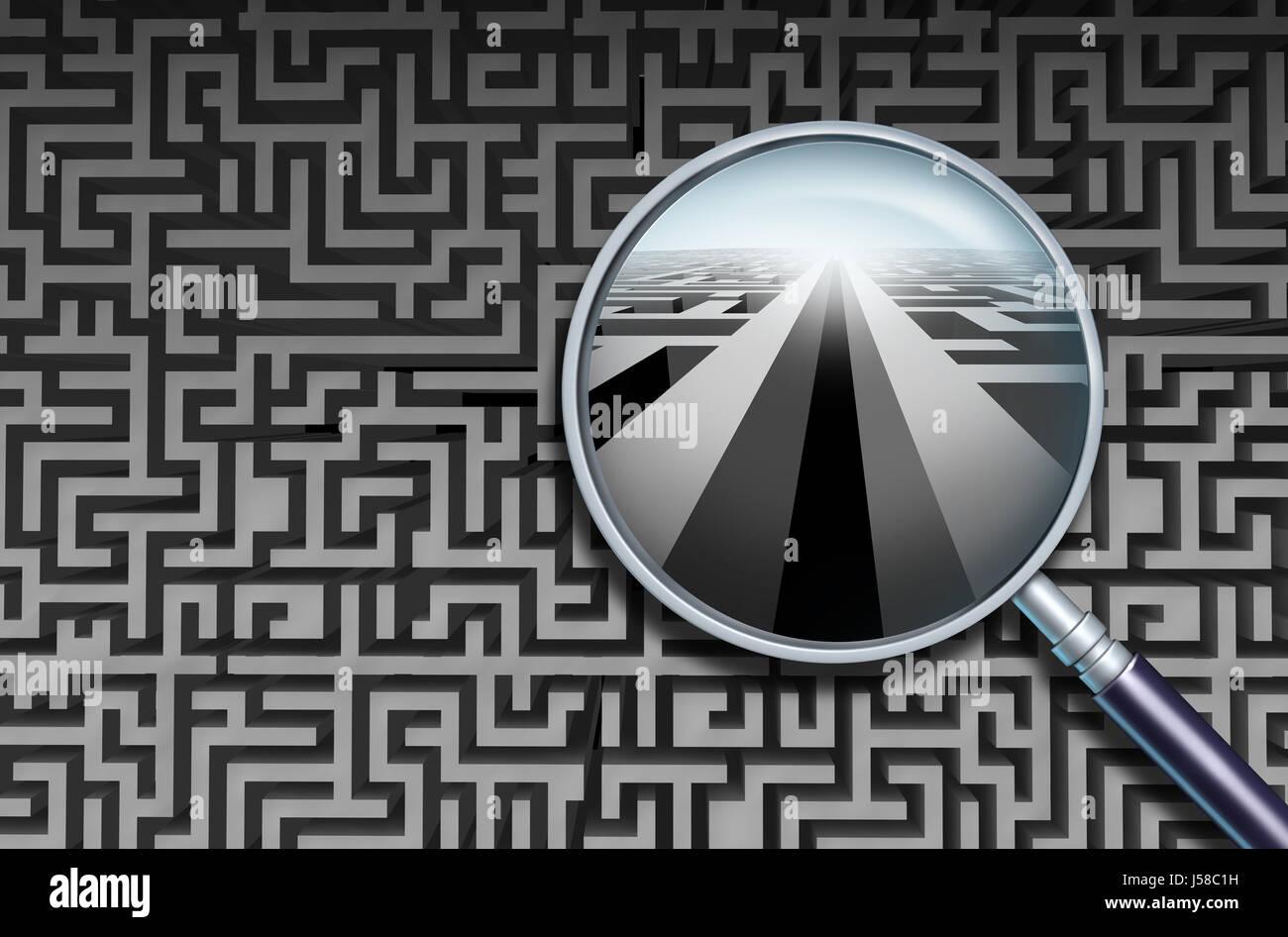 Solution de recherche d'affaires et de découvrir et de décoder la confusion compliqué comme une Photo Stock