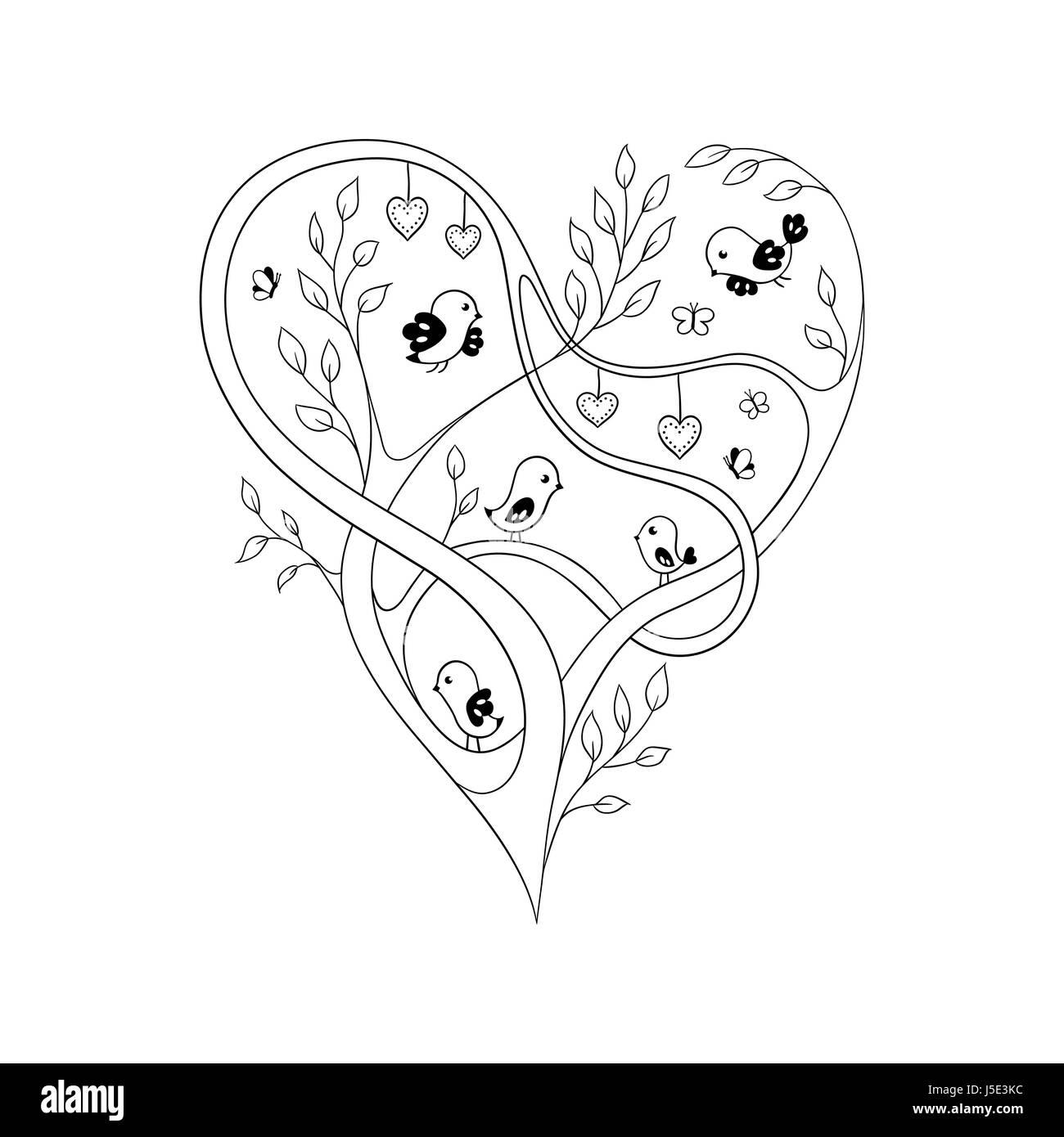 Coloriage Oiseau Sur Arbre.Coeur Fleuri Elegant Forme Par Les Branches D Arbres D Oiseaux Et De