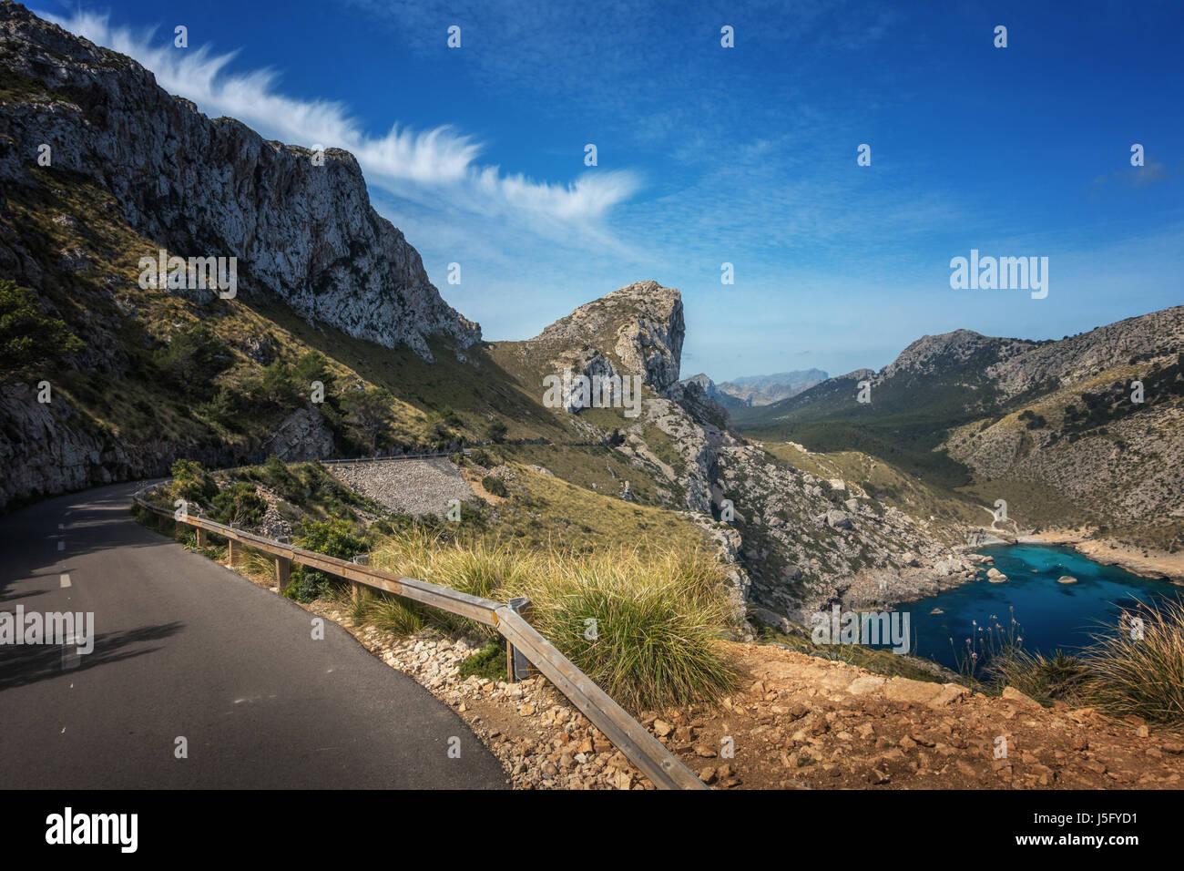 Les belles routes panoramiques du Cap de Formentor, Majorque, Majorque, Îles Baléares, Espagne Photo Stock