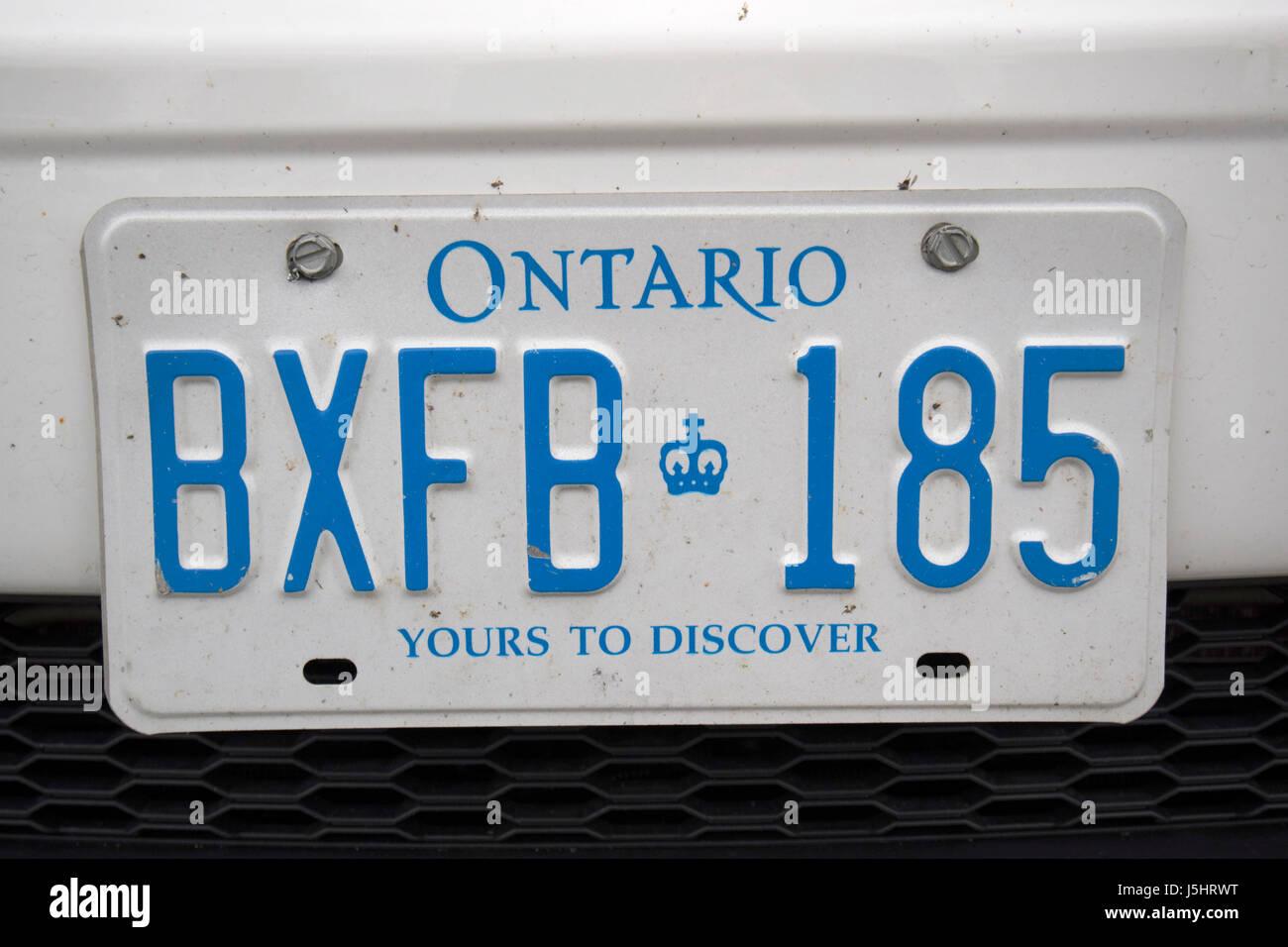 Vous pouvez y découvrir l'Ontario province canadienne la plaque de licence Photo Stock