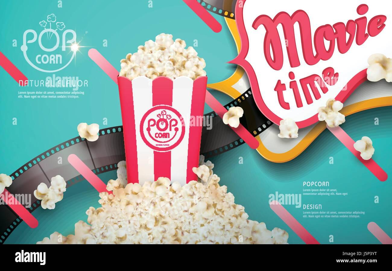 Superbe Délicieux Popcorn Annonces, Bandes Blanches Et Rouges Avec Des éléments De  Film Isolé Sur Fond Bleu Turquoise, 3d Illustration