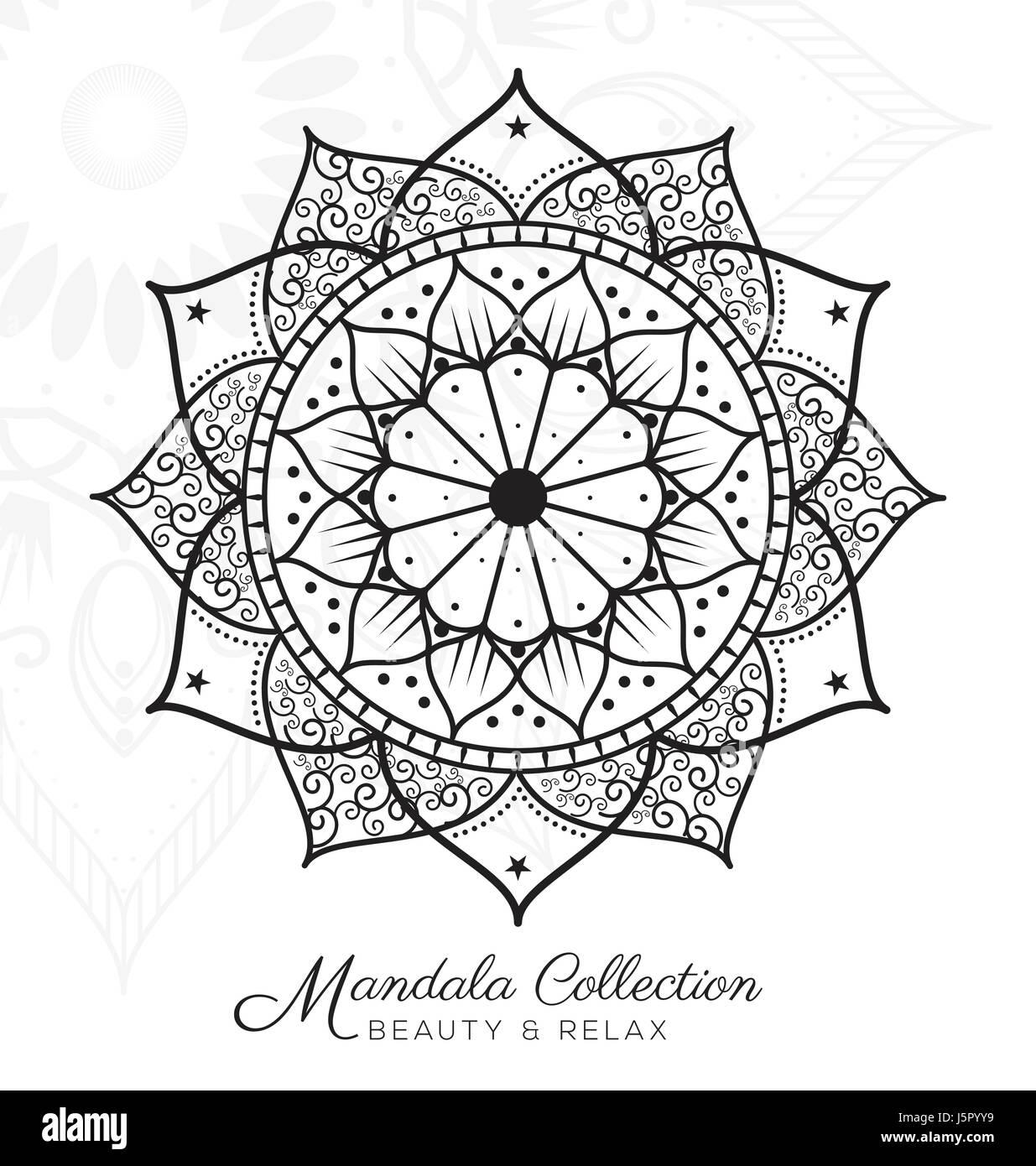 Mandala Tibetain Ornement Decoratif Design Pour Colorier Cartes De