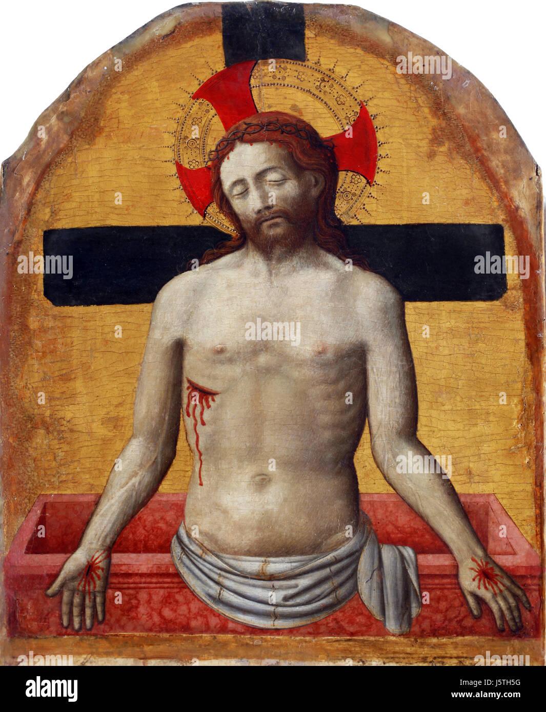 Antonio Vivarini: Imago pietatis, Retable de la basilique Euphrasienne de Porec, Croatie le 12 décembre Photo Stock