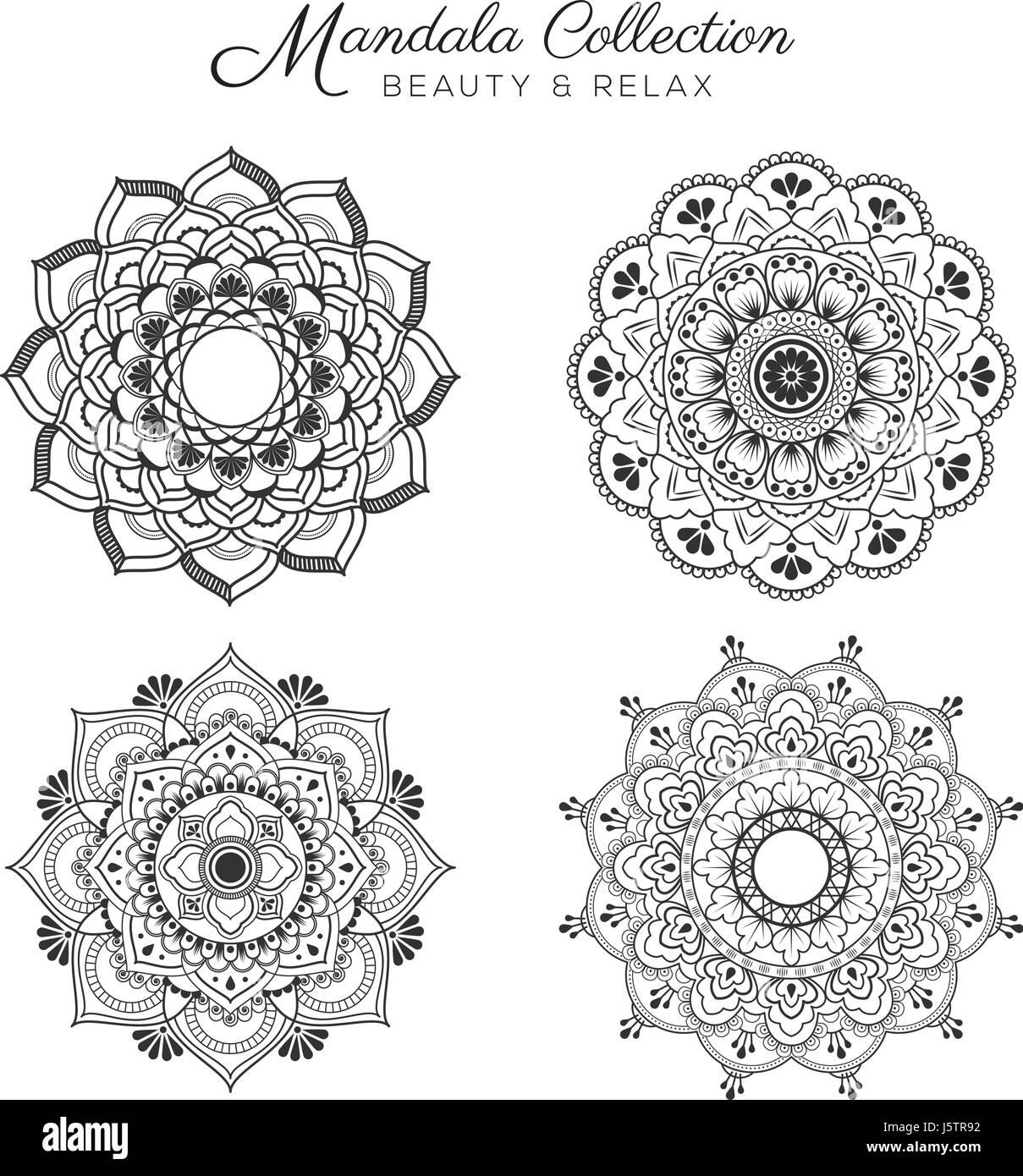 Ensemble De Mandala Design Decoratif Et Ornemental Pour Colorier
