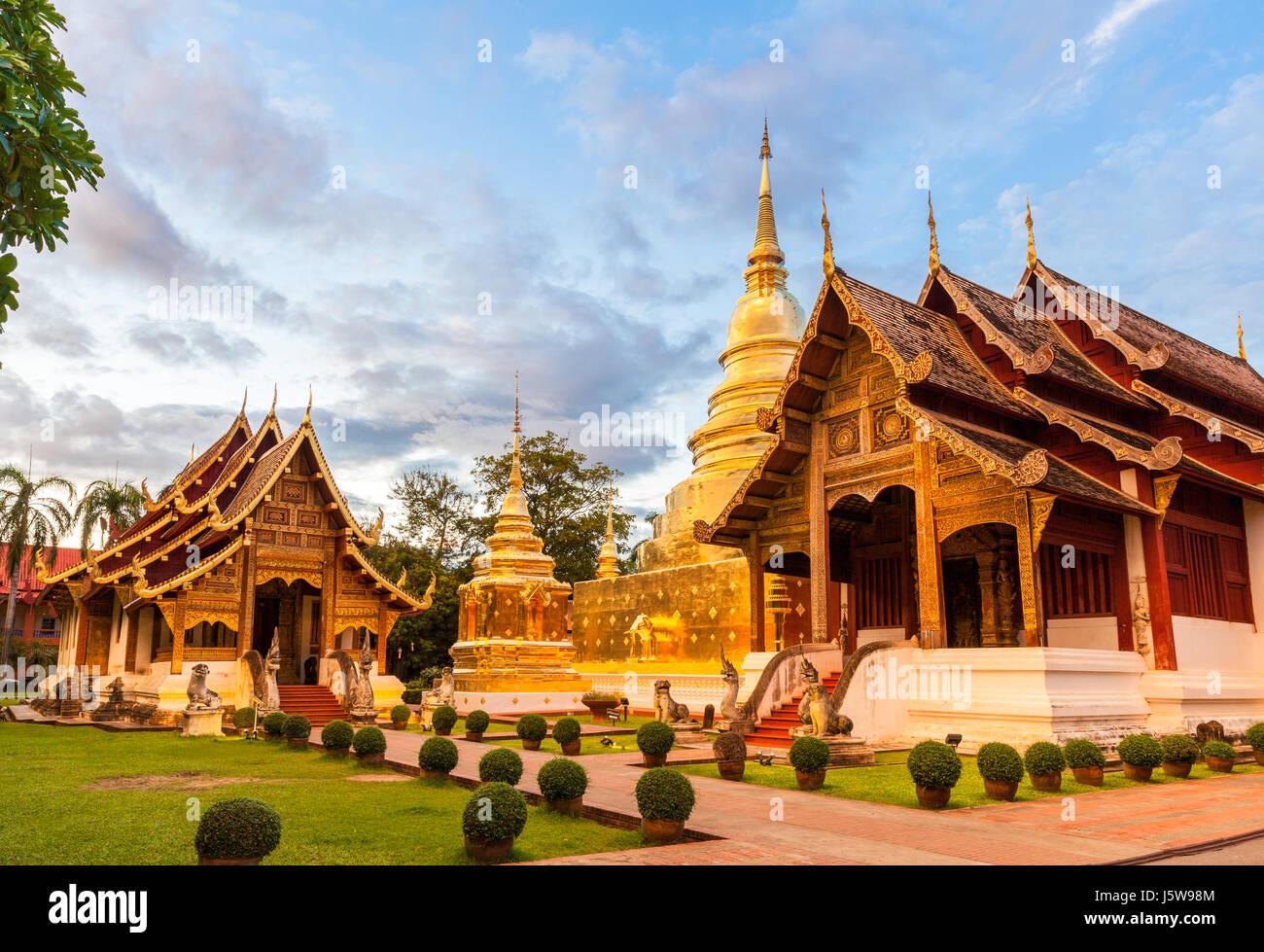 Wat Phra Singh Woramahaviharn. Temple bouddhiste de Chiang Mai, Thaïlande. Photo Stock