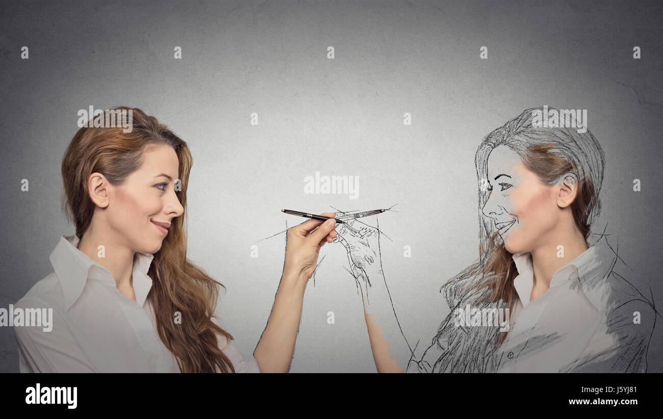 Créez vous-même, votre avenir, l'image, le concept de carrière. Belle jeune femme un dessin, Photo Stock