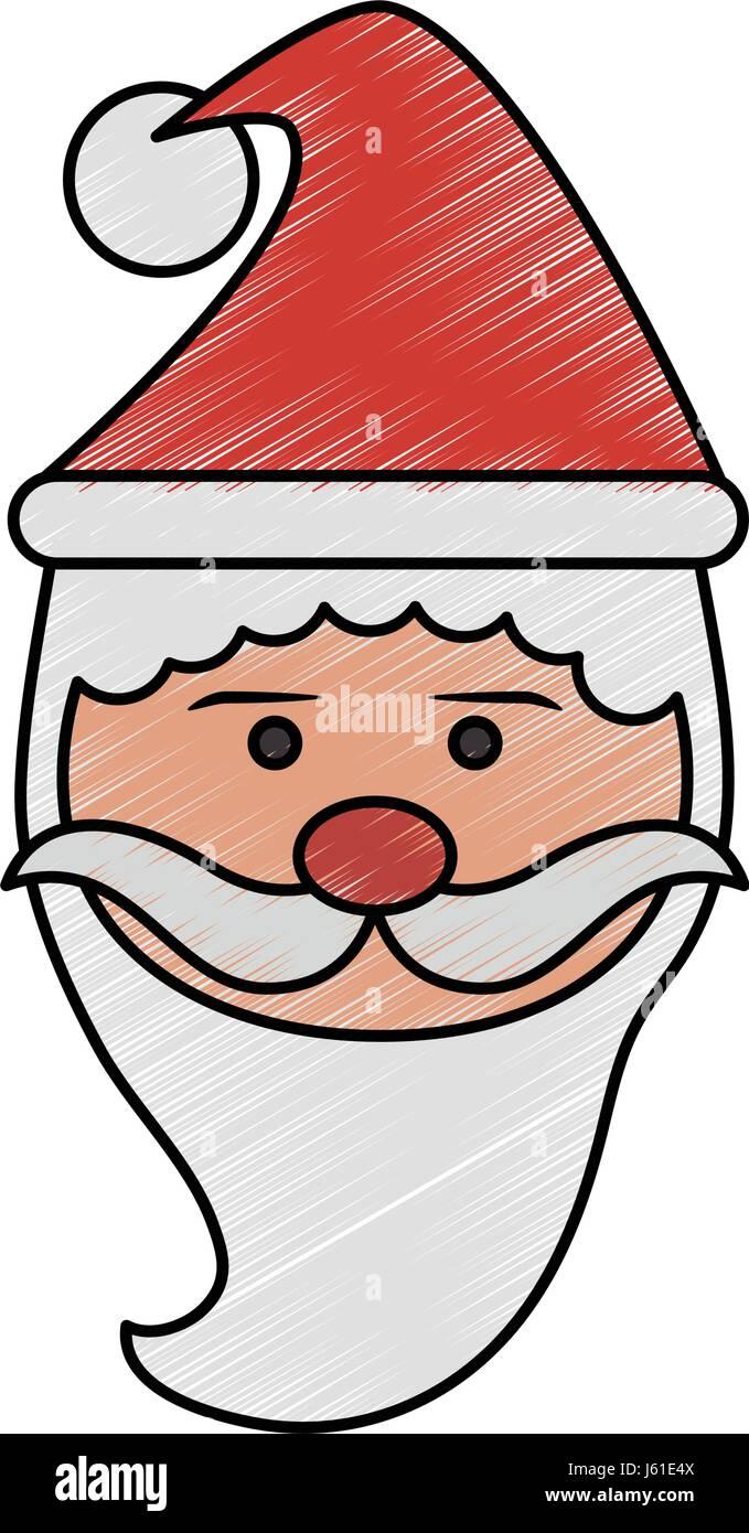 Dessin Au Crayon De Couleur Vue Avant Le Père Noël Portrait