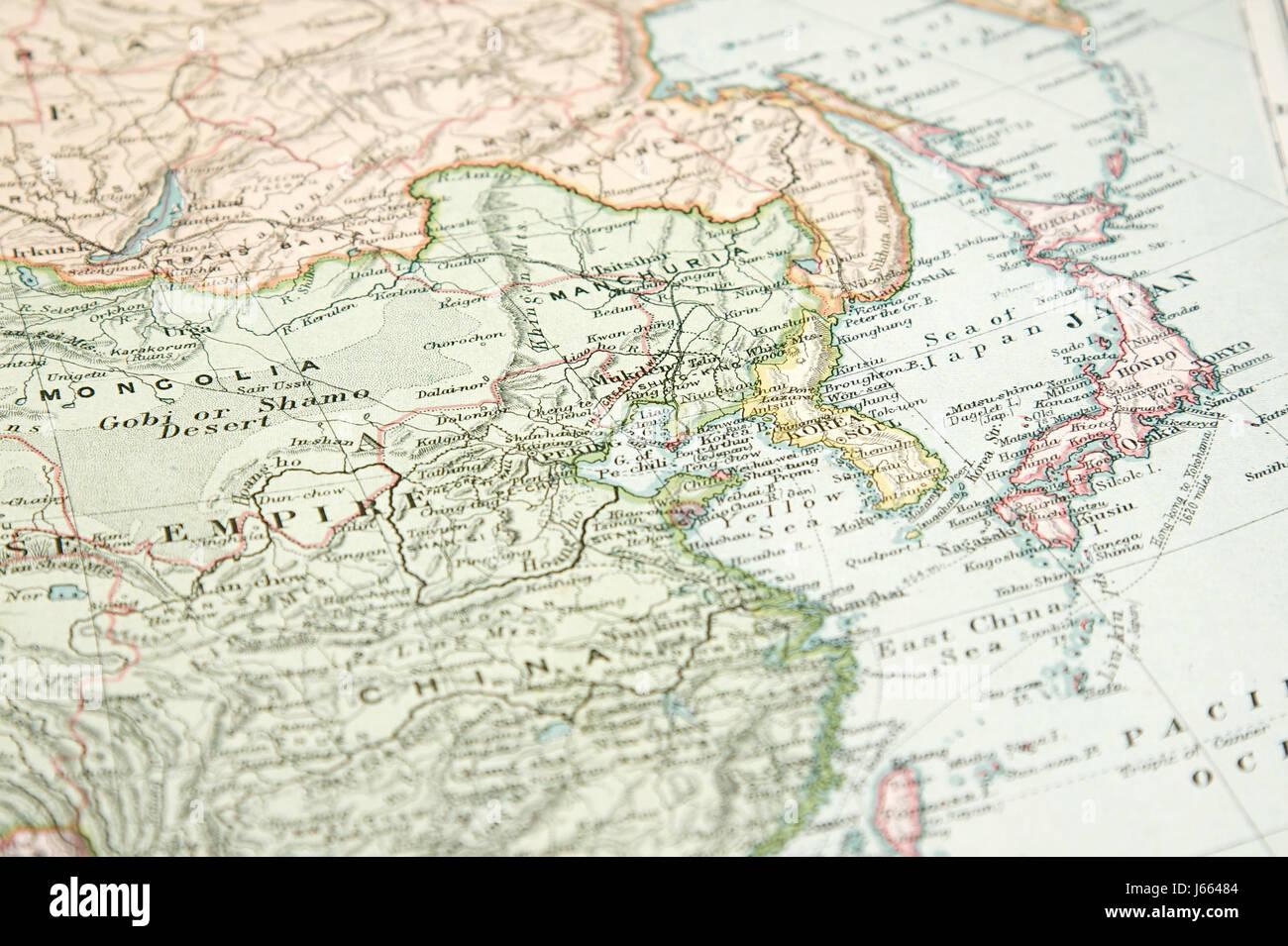 Carte Du Monde Chine Japon.Graphique Chine Japon Coree Globe Planete Terre Monde Vieux