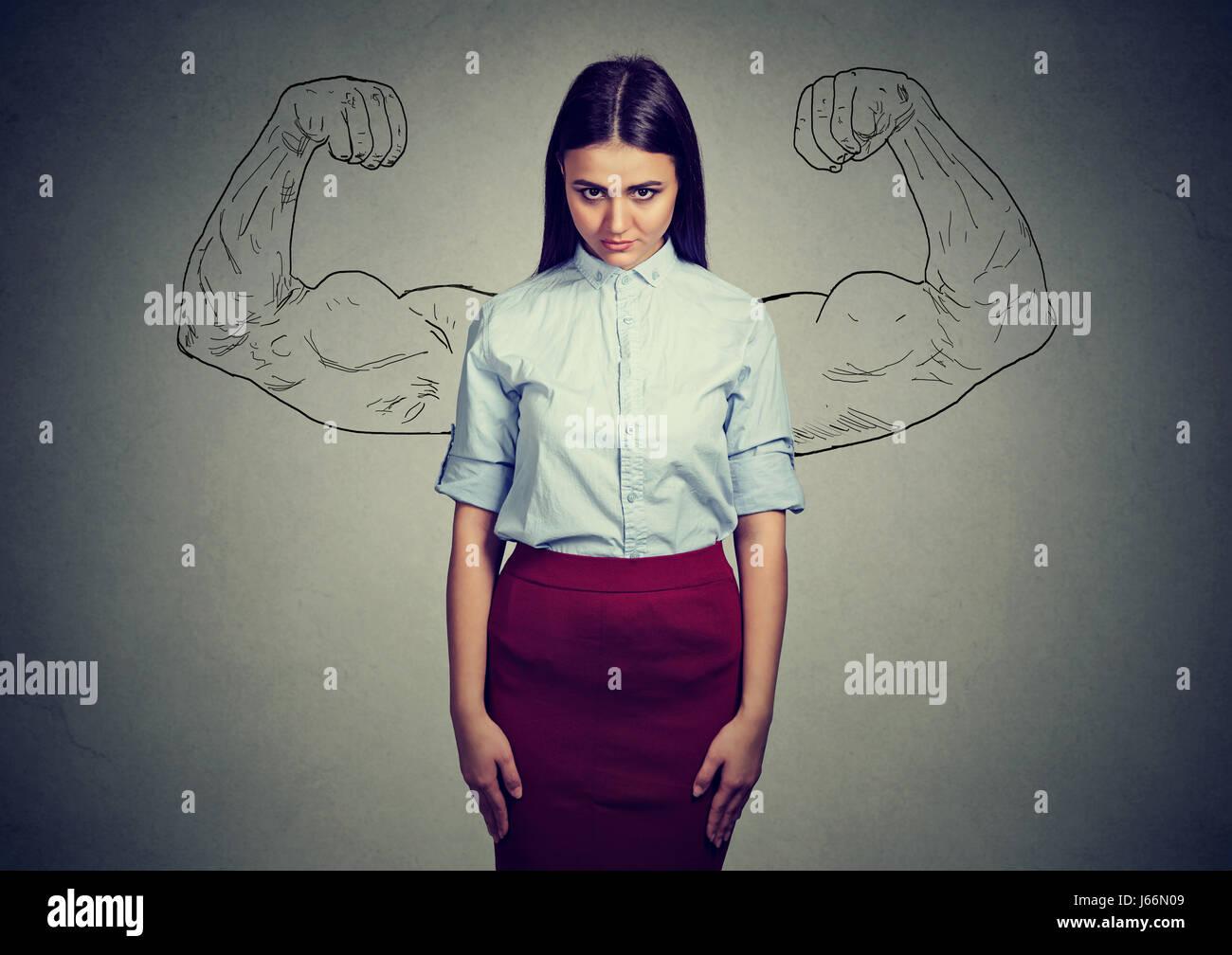 Fille puissante réalité vs ambition utopique concept. Sad woman looking at camera isolé sur fond Photo Stock