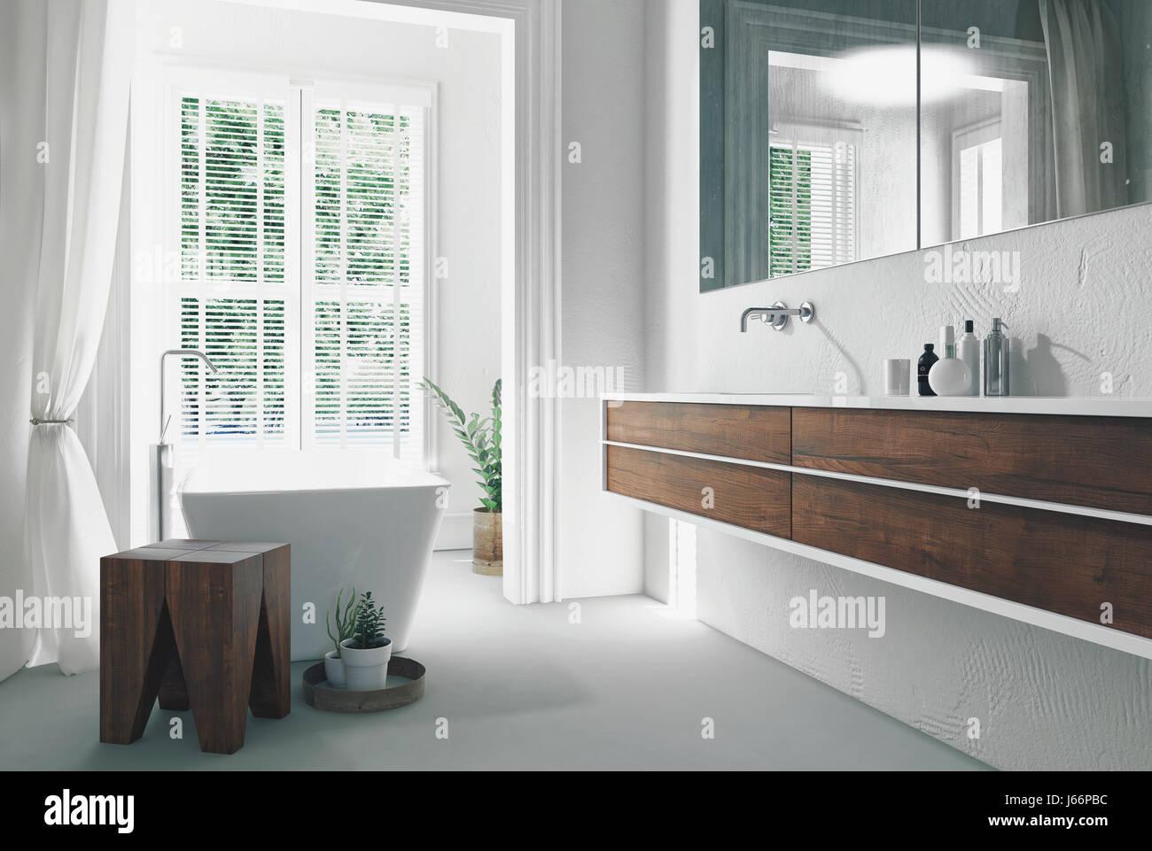 Salle de bains moderne et lumineuse, ensoleillée avec intérieur ...