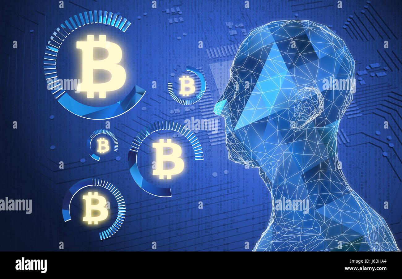 Technologie concept financier Fintech image. Devises numériques , cryptocurrency , et de l'argent numérique concept bitcoin. Des droits de l'fer , sanglier circuit Banque D'Images