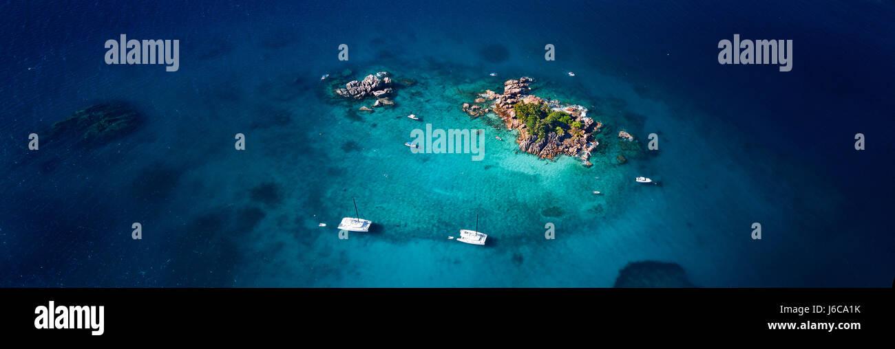 Vue aérienne de l'Ille Pierre, Seychelles Photo Stock
