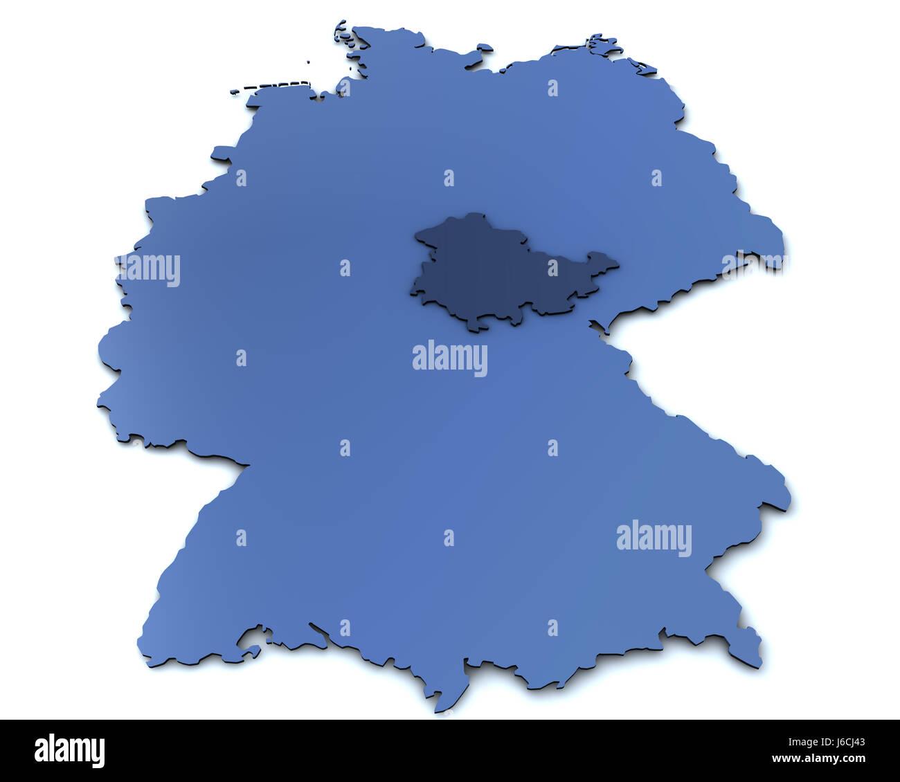 Carte Allemagne Thuringe.Carte De L Allemagne Thuringe Banque D Images Photo Stock