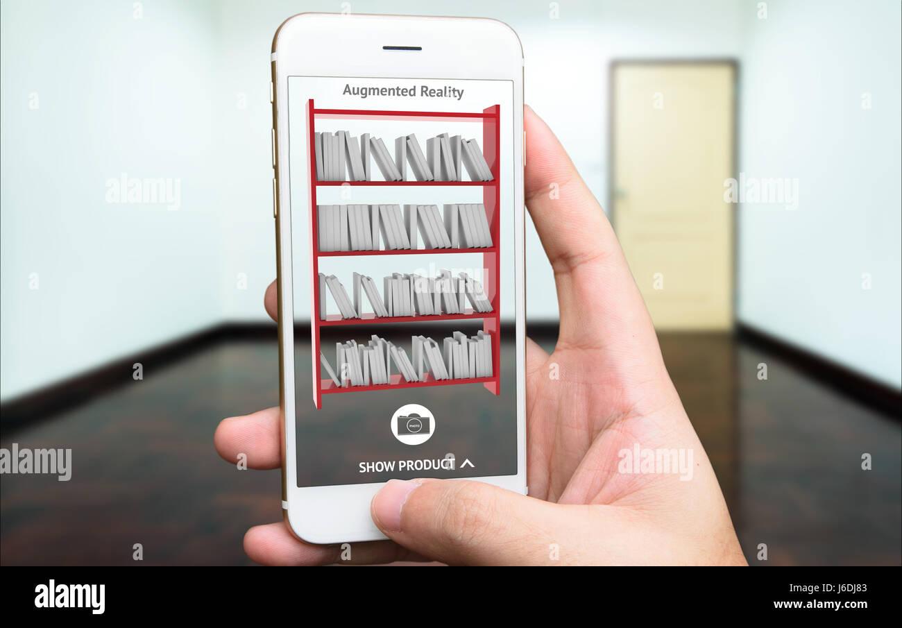 Main Tenant Lu0027utilisation De Téléphones Intelligents Pour Simuler Lu0027 Application AR Mobilier Et à Lu0027aménagement Intérieur Produits De Roo