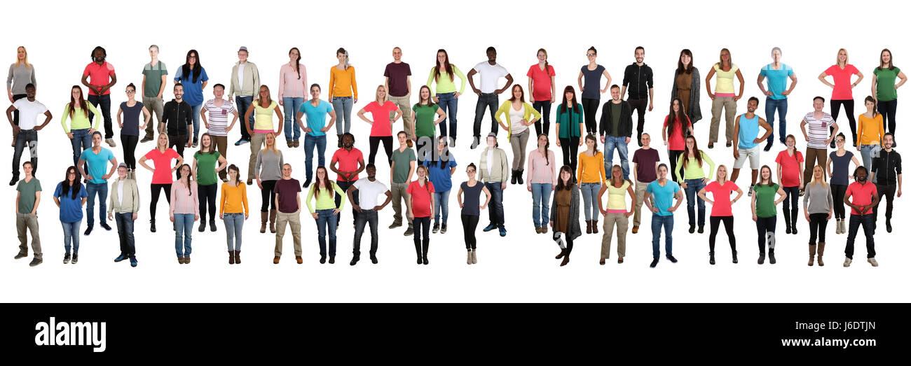 Groupe de jeunes gens fond foule dans une rangée de plusieurs personnes ethnique multiculturelle Photo Stock