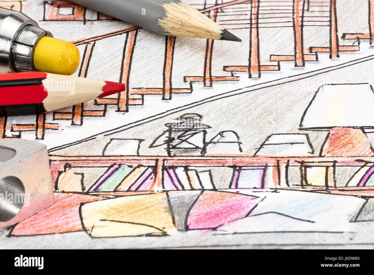 Graphique Couleur Croquis Pour Le Salon Interieur Idee Avec Les