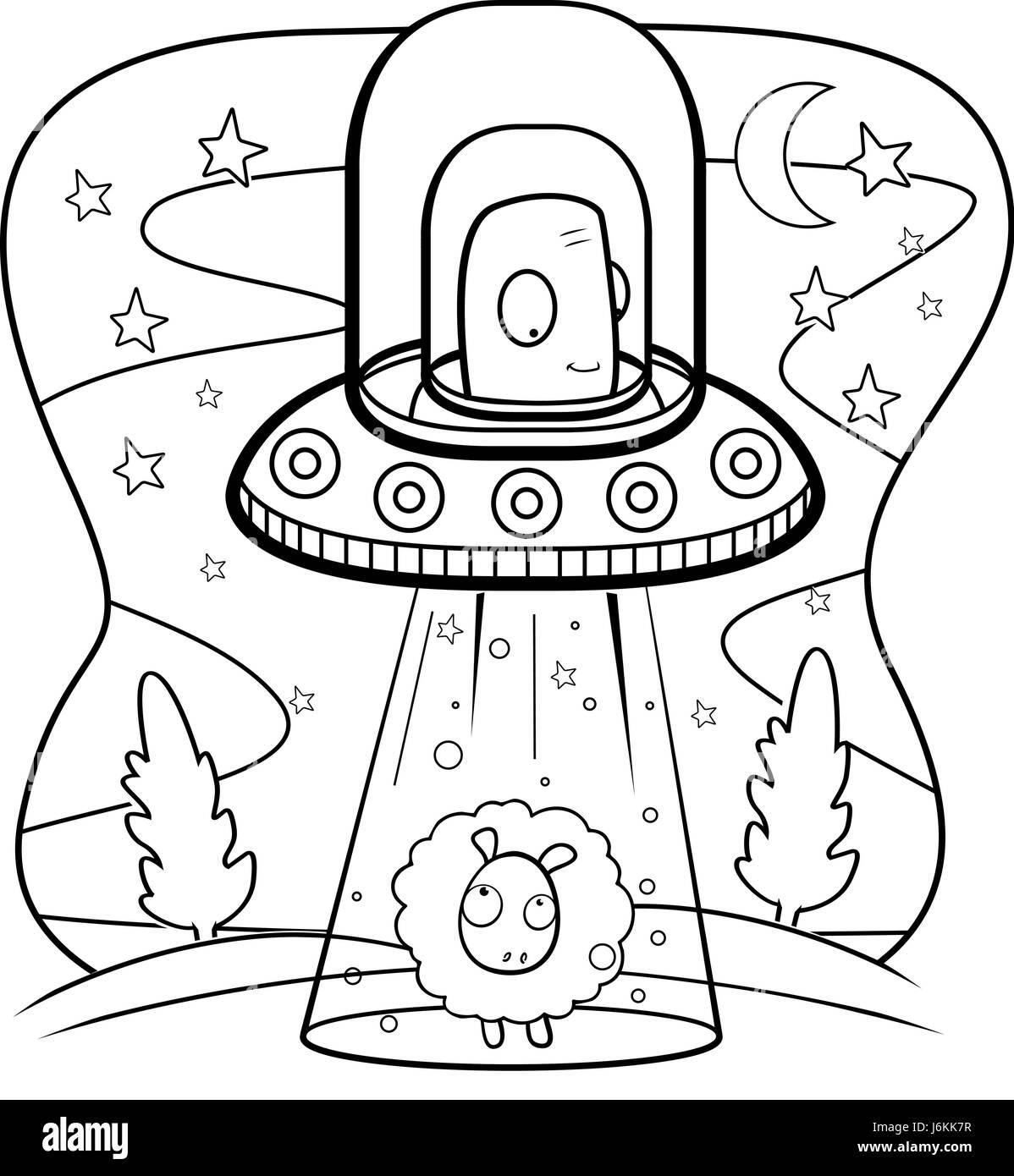 Un Dessin Anime Dans Un Vaisseau Spatial Extraterrestre Vert Enlevement D Un Mouton Image Vectorielle Stock Alamy