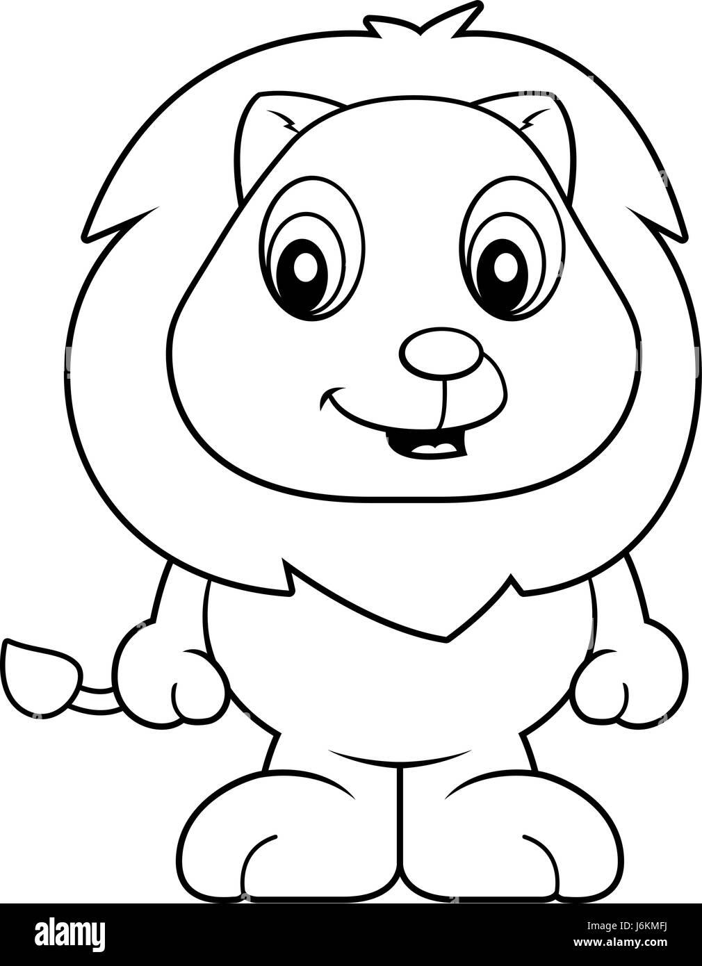 Un Dessin Animé Bébé Lion Cub Souriant Et Heureux Vecteurs Et