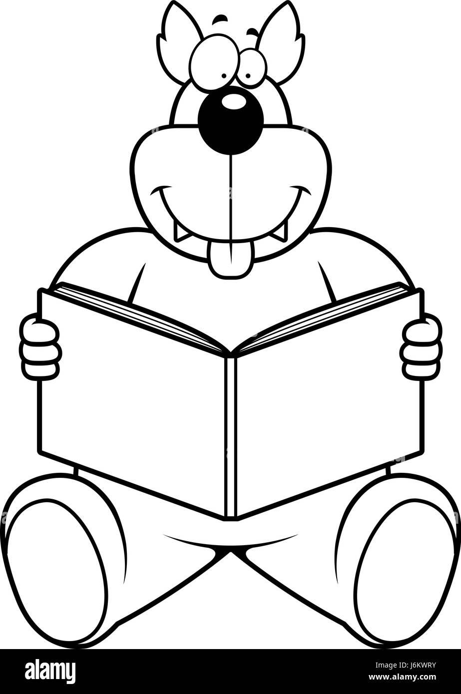 Un Loup De Dessin Anime La Lecture D Un Livre Et De Sourire