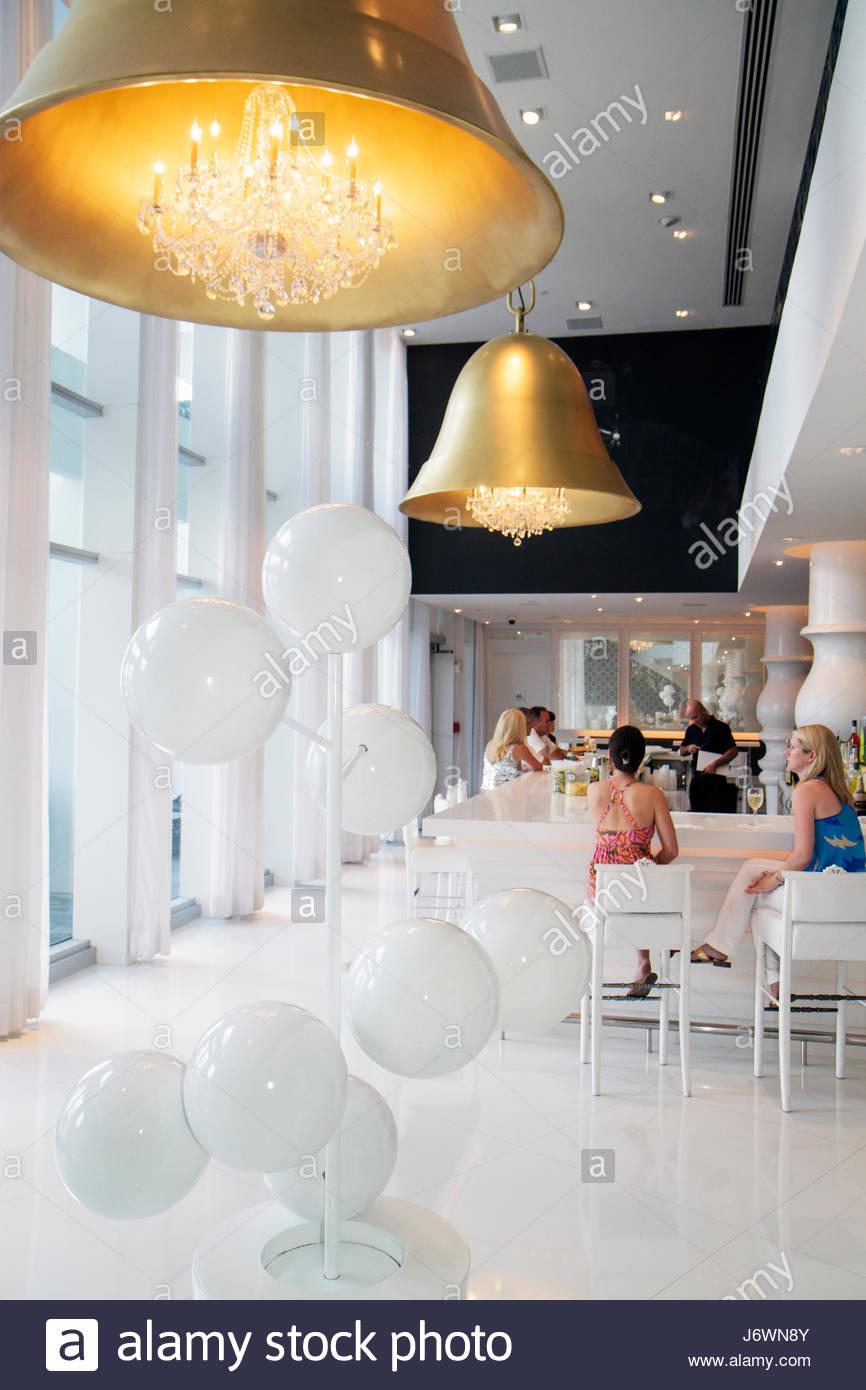 Miami Beach Florida hall de l'hôtel Mondrian South Beach bar Photo Stock