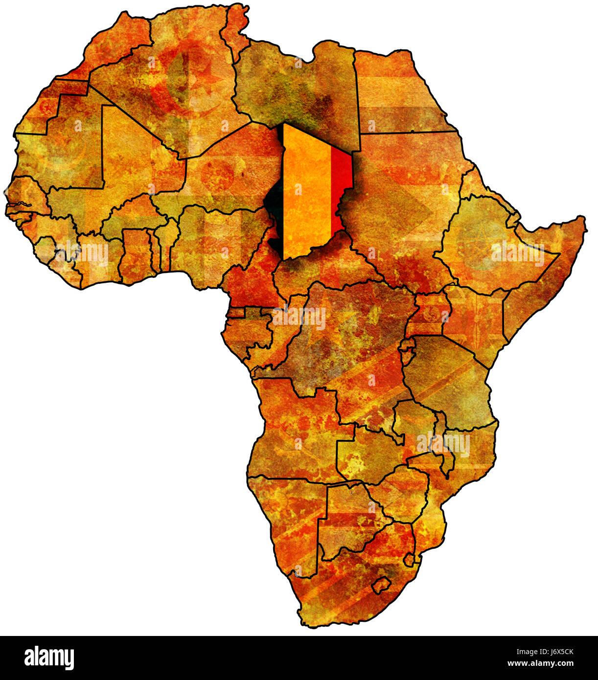 Carte De Lafrique Tchad.Tchad Drapeau Sur La Carte De L Afrique Banque D Images