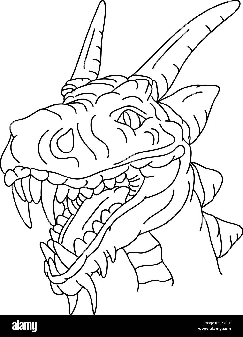 Peinture dessin animé dragon illustration tirage couleur art graphique danger isolé animal