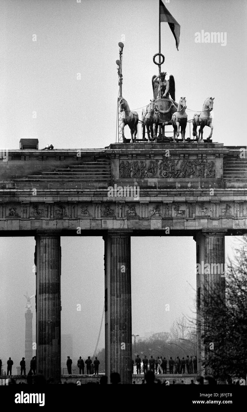 Berlin, Allemagne photographié sur les jours qui ont précédé la chute du Mur de Berlin, y compris la nuit du mur Banque D'Images