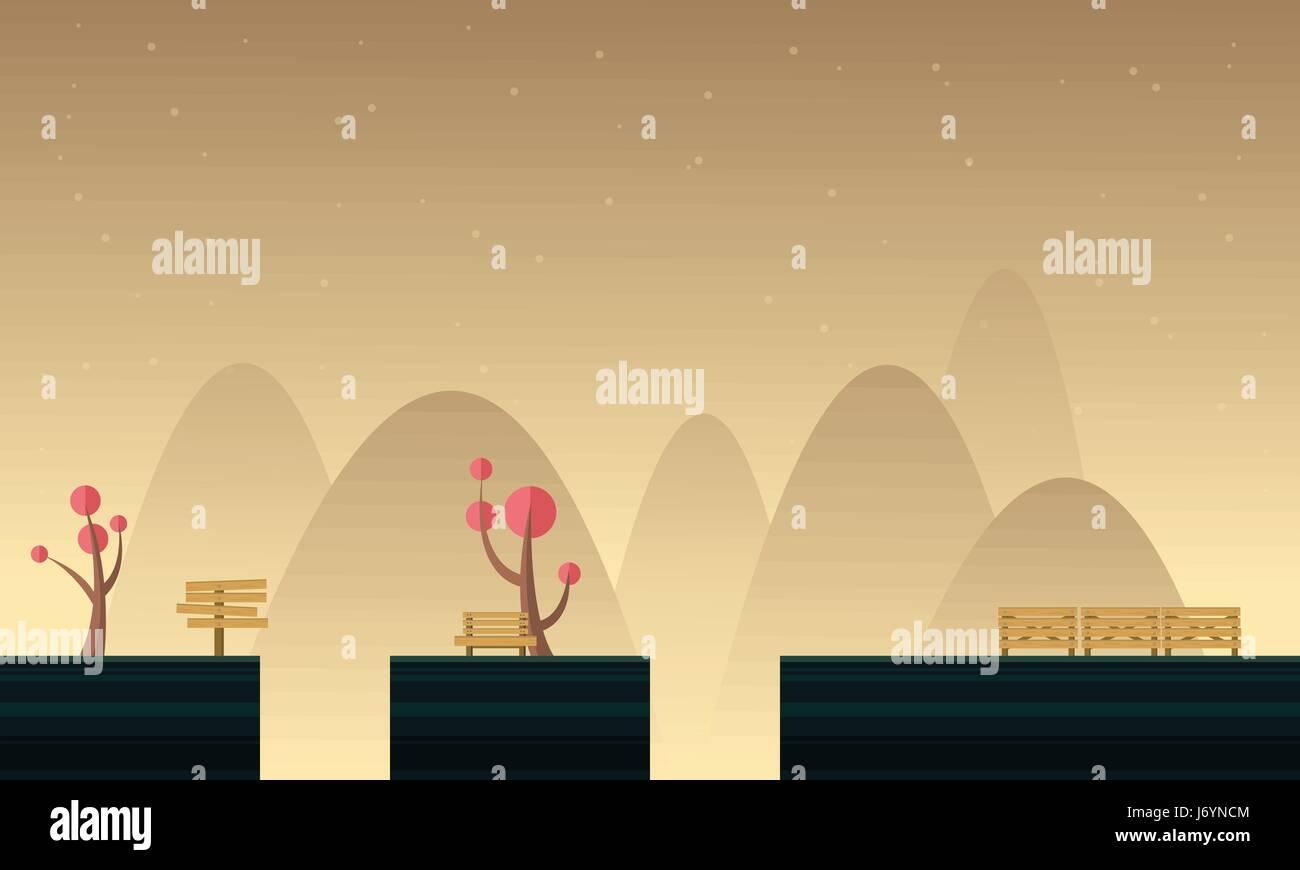 Cute Style décor pour arrière-plan de jeu Illustration de Vecteur