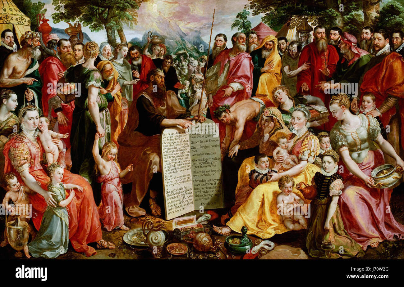 Maerten de Vos Moïse présentant les tables de la loi aux Israélites, avec des Portraits de membres de la famille Panhuys, leurs parents et amis Banque D'Images