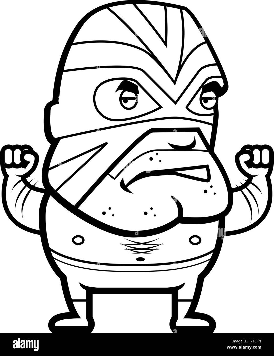 Un Dessin Animé Luchador Mexicain Avec Un Masque Vecteurs Et