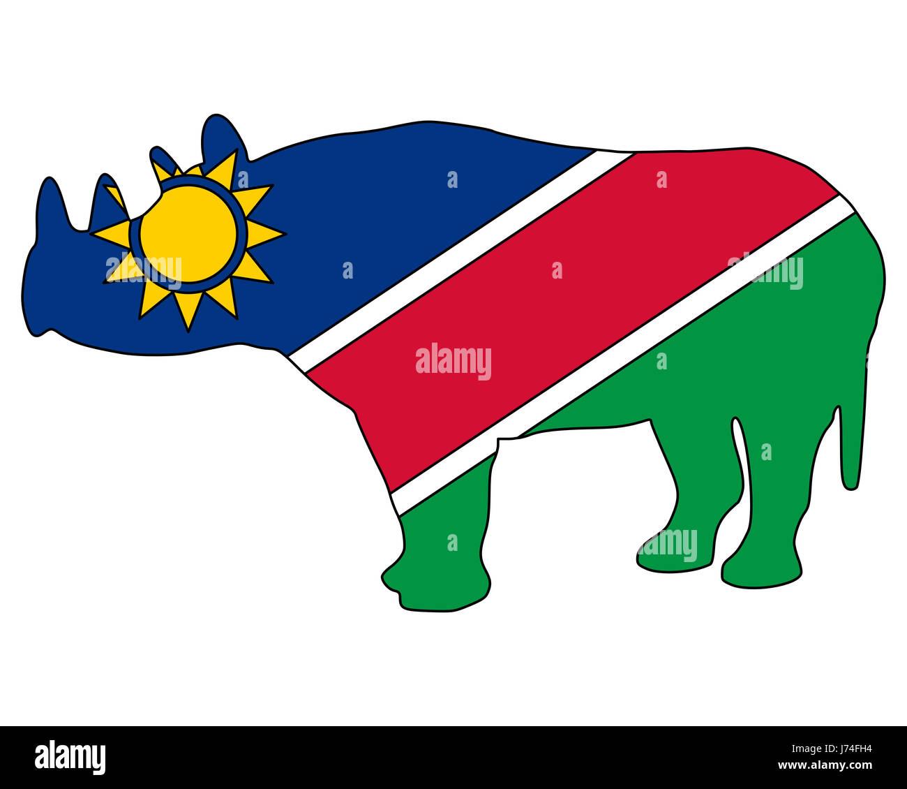 Drapeau Namibie Afrique rhinocéros rhinocéros bleu signal signe ...