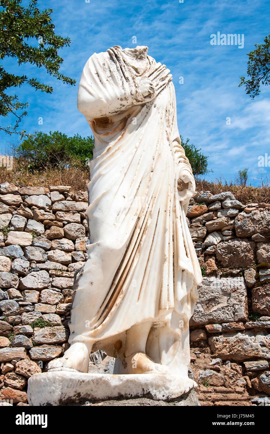 Statue d'Hercule sans tête sur socle, Ephèse, Turquie Photo Stock