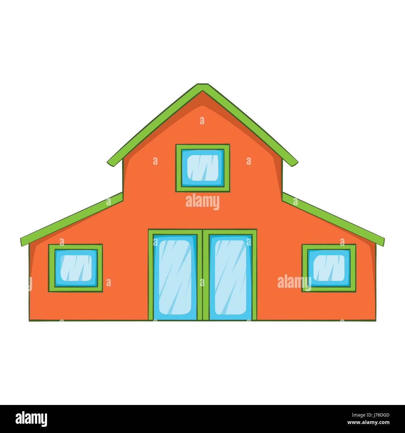 Petite maison située dans le style dessin animé isolé sur fond blanc vector illustration
