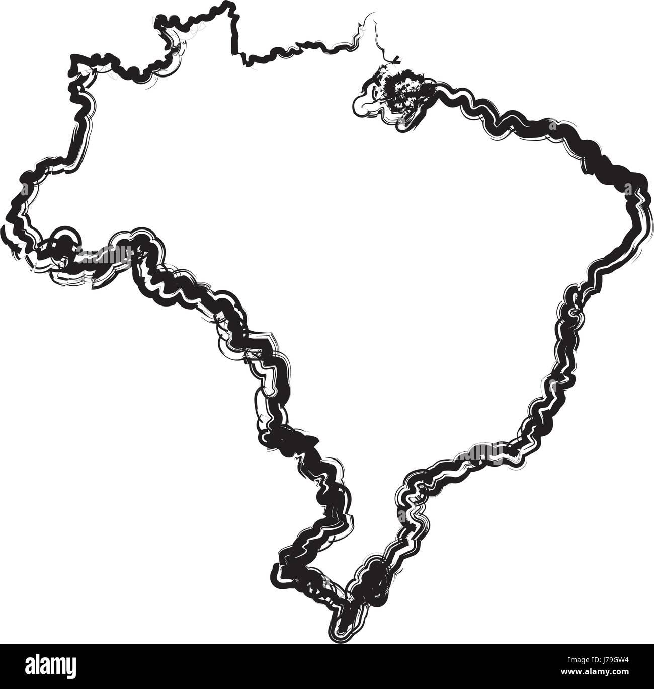 Géographie cartographie carte du Brésil tourisme voyage Photo Stock